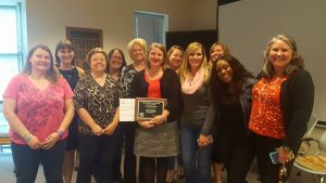 Heidi Leerkamp with CSL Staff after winning the CSL Academic Professional award.